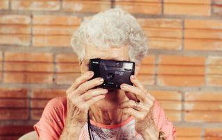 Older woman using technology