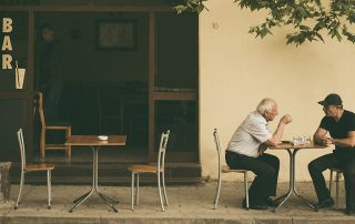 Two men discussing old age